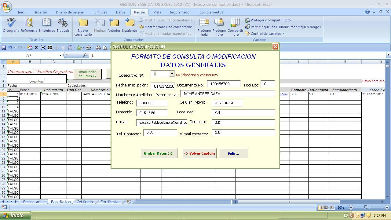 GESTION BASE DE DATOS EN EXCEL