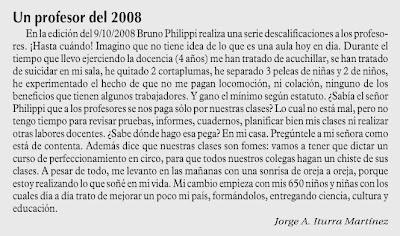 carta aparecida en Las Ultima Noticias, Octubre 13, 2008