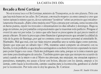 sección Cartas - Las Ultimas Noticias Octubre 24, 2008