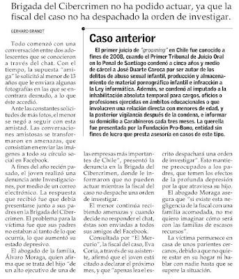 El Mercurio Enero 10, 2009 - MENOR DE 13 AÑOS EN ESTADO DEPRESIVO POR AMENAZAS EN FACEBOOK