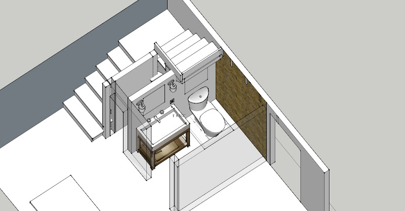 The half bath plan, rendered in 3-d by N using SketchUp title=