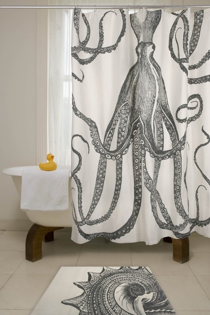Anchor Shower Curtain Octopus shower curtain