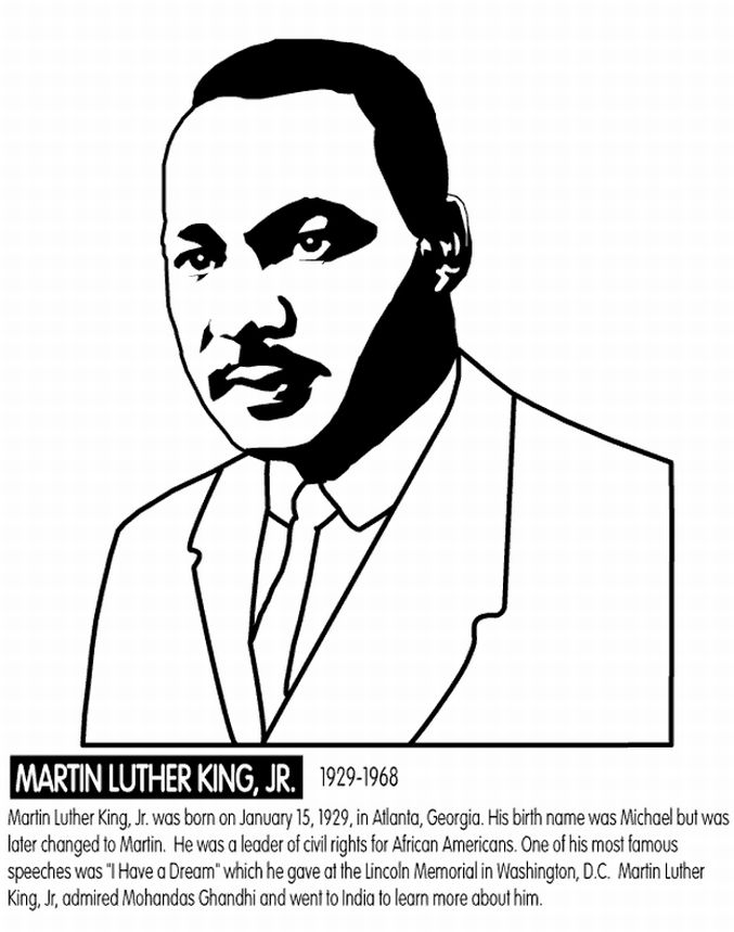 Martin Luther King Jr Day Activities Color Sheets Word Printables