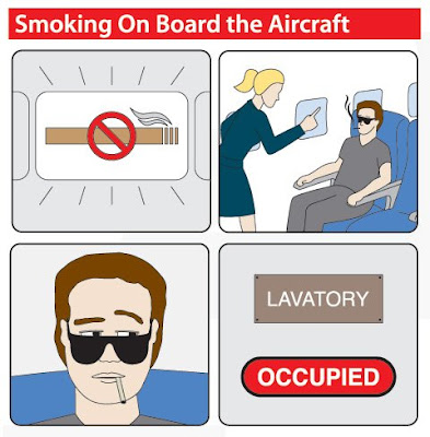 An illustration of the coolest guy ever, seducing a stewardess with his rugged good looks.