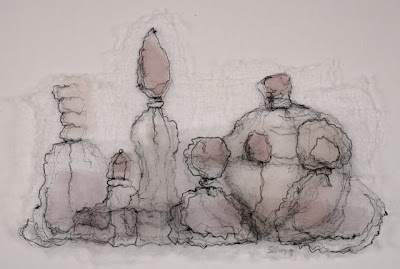 Perfume Bottles II, textile art embroidery by Susanne Gregg