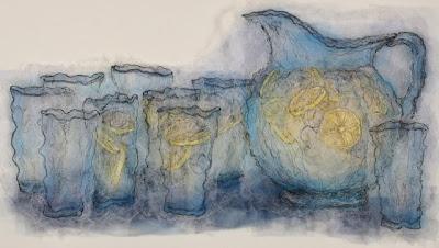 Lemonade, textile art embroidery by Susanne Gregg