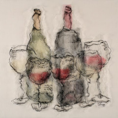 Wine Tasting, textile art embroidery by Susanne Gregg
