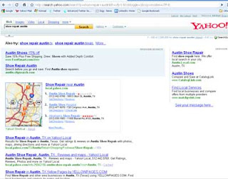 Yahoo! search SERP on search for shoe repair in Austin, TX