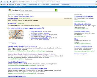 Live search SERP on search for shoe repair in Austin, TX