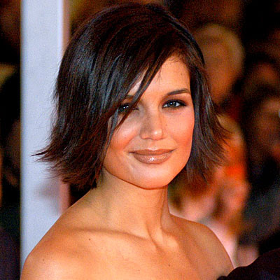 katie holmes wedding hair. Katie alike alloyed up the