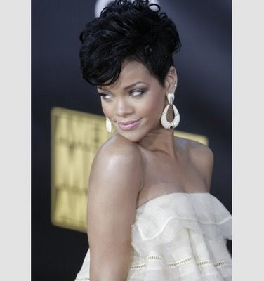 Rihanna Short African American Hairstyle 2009