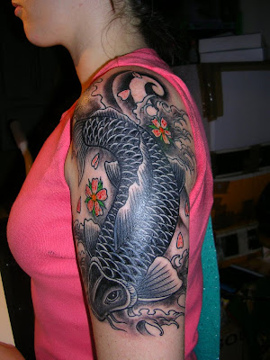Japanese Tattoo, Female Tattoo, Koi Fish Tattoo, Bak Body Tattoo, Upper Back Tattoo, Shoulder Tattoo, Side Body Tattoo