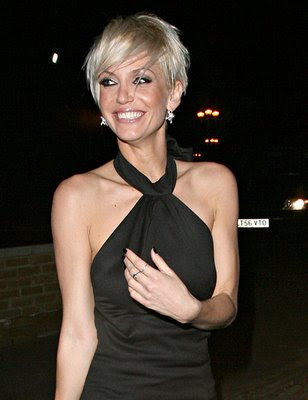 Sarah Harding haircut has long fringe bangs in