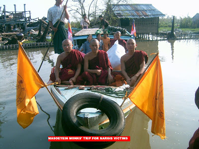 >Sayadaws in Burma are helping the relief works on their own