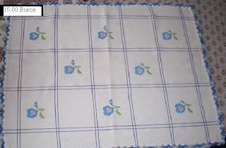 Pano De Cozinha Bordado Barra Em Renda Azul