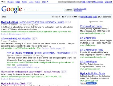 A new look of Google search result
