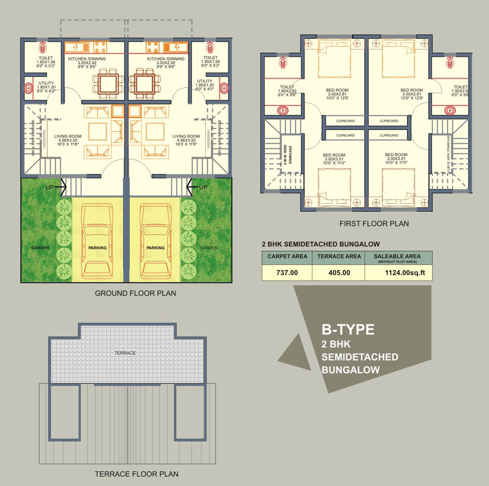 BHK Twin Bungalows - A Type Semidetached Units -