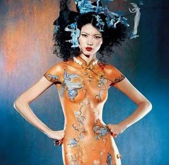 Chinese Dress Body Painting