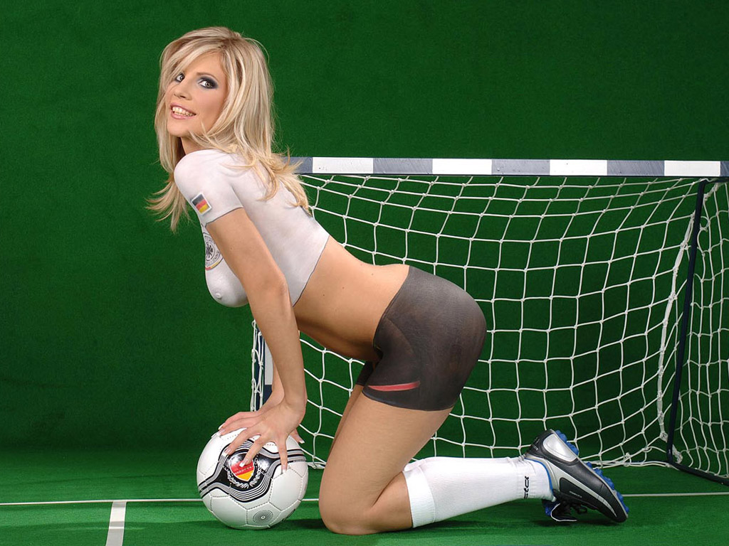 Hot soccer women body paint