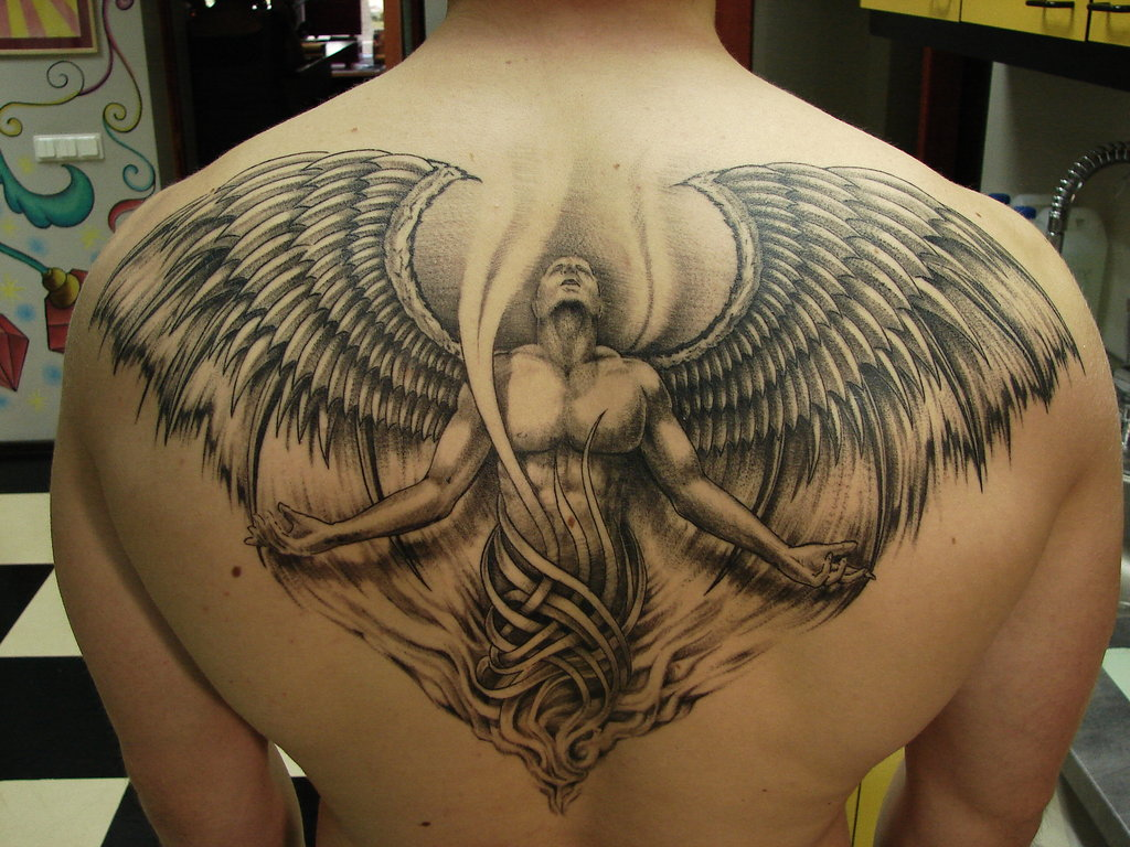 Art Body Painting Ideas: Beautiful Angel Tattoos