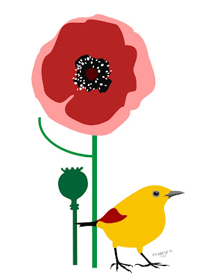 poppy and bird art