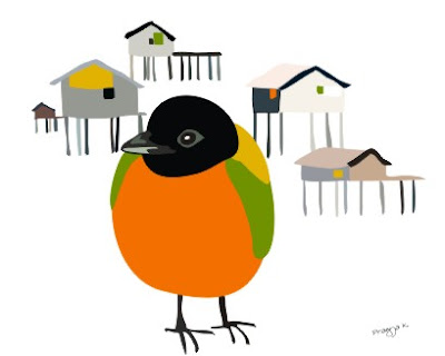 Man Friday goes house hunting, bird art of the day