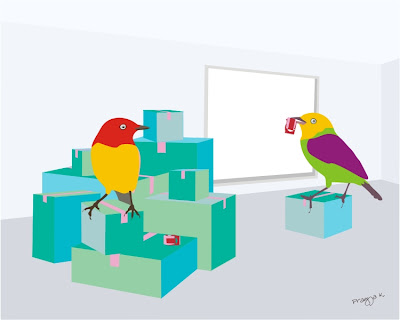 illustration of two birds with stacks of packaging boxes ready to move