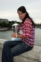 Ana Ivanovic in Jeans out in Paris with her 2008 French Open Trophy