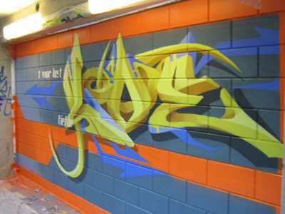 3D Tribal Graffiti Alphabet Bombing Murals on the Wall Street