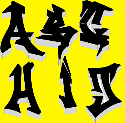 black graffiti alphabets