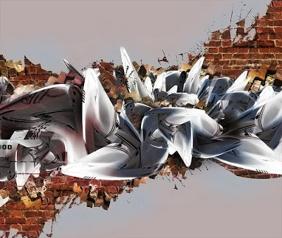 the Best 3D Arrow Alphabet Graffiti Murals. Graet3D graffiti Design.