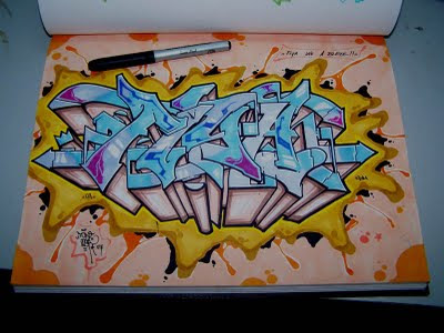 Draw Graffiti Sketch On a Plain Paper