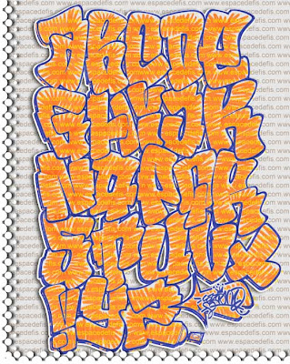 "Graffiti Alphabet ""Letters A-Z"" on Paper"