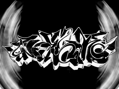 """Black and White Color Design"" Digital 3D Arrow Graffiti Alphabet Art"