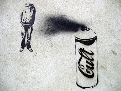 Stencil graffiti spray can