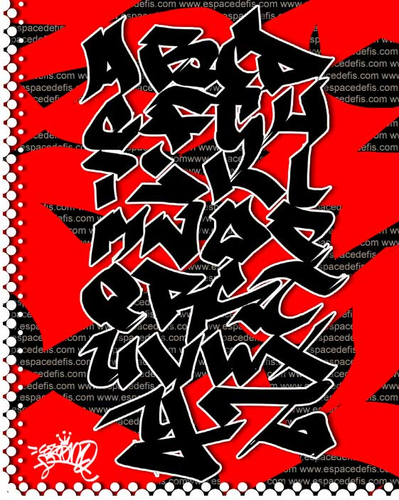 "Letter A-Z in Alphabet Graffiti ""Red-Black Color"""