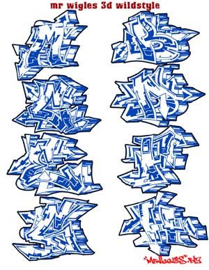 Full Alphabet A-Z Graffiti 3D