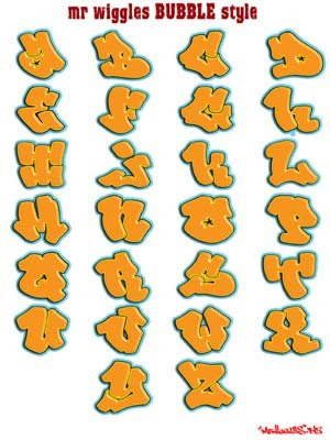 Free Graffiti Alphabet Letters A-Z silver color.