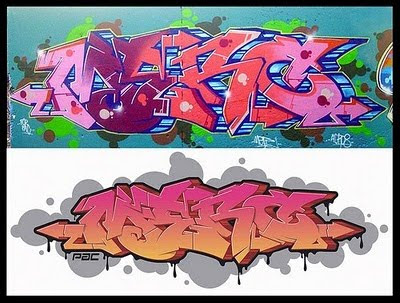 letter in graffiti writing. 2 Character Graffiti Letters