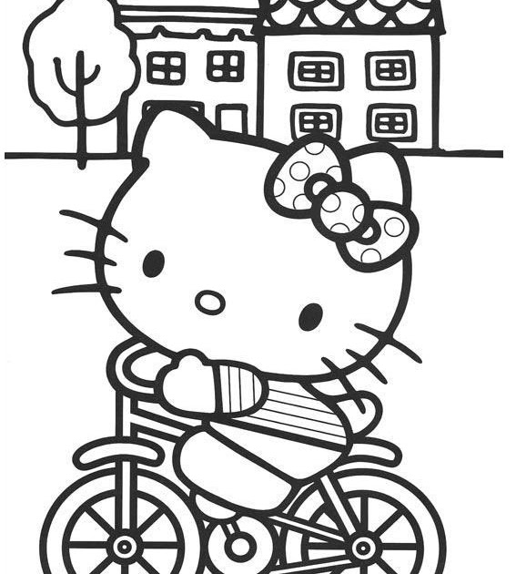 hello kitty skateboard coloring pages