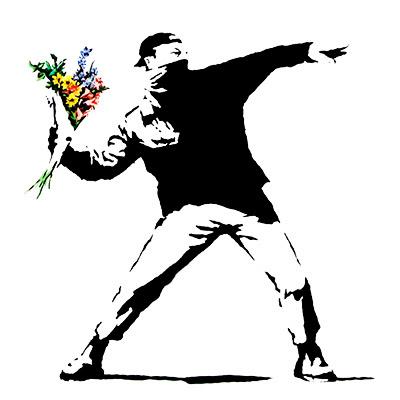 banksy graffiti. anksy graffiti flower.