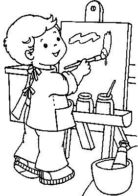 With Trials: Child Artist Kids Coloring Pages