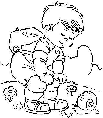 Kids Colorings Pages on Hiker And Snail  Kids Coloring Pages