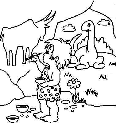 Cave Painter Kids Coloring Pages
