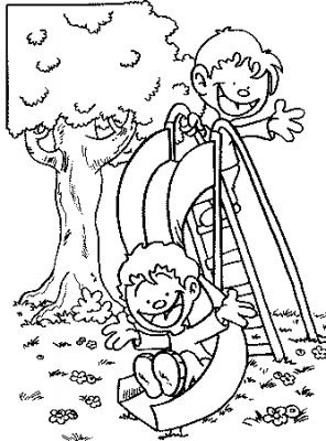 Kids Coloring Pages On Slide In Park
