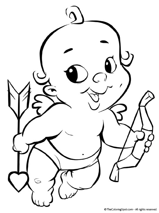 valentines coloring pages. Baby Cupid Valentine Coloring