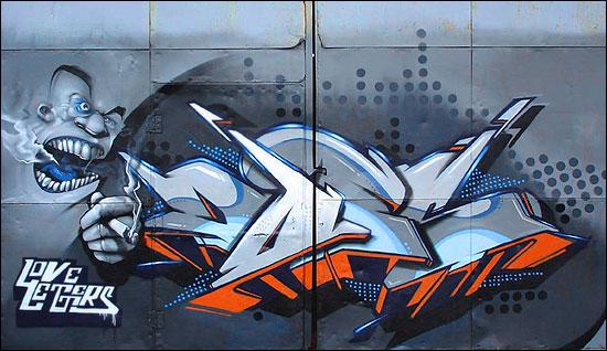 "aple graffiti mural: graffiti letter ""does"" by love letters"
