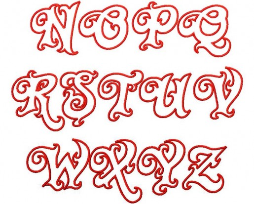 Graffiti Alphabet Letter A To Z Twirly Whirly Applique
