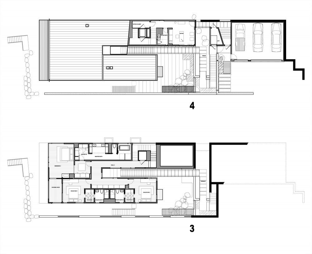 Courtyard House on a Steep Site   By Hutchison  amp  Maul Architecture    floor plan   drawing Courtesy of Hutchison  amp  Maul Architecture