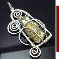 biwa pearl wirewrapped handmade indie pendant
